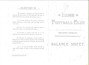 Leigh Football Club 1906-07 Balance Sheet
