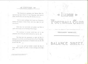 Leigh Football Club 1906-07 Balance Sheet
