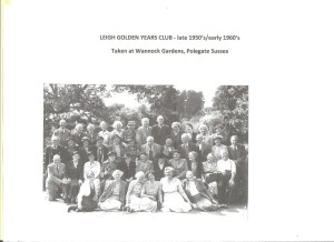 late 1950s/early 1960s: Golden Years Club outing at Wannock Gardens, Polegate, Sussex. Please contact society if you recognize anyone.