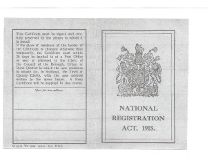 National Registration Act 1915 Card