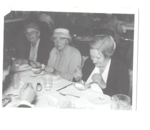 L-R: Miss Minnie Brooker; Mrs Emily Fitzjohn; Mrs Penny Brooker: Gold Years Club Outing late 1950s/early 1960s.