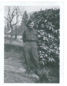 William Denny ca 1940 - the father of Margaret Pyle, whose mother was Peggy Fitzjohn - taken near the front of 1 Park Cottages, with Rose Cottage in the background.