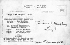 Reverse of Leigh Fire Brigade 1926 postcard showing awards for year