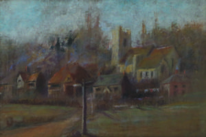 Pastel picture by Edith Hine ca. 1887/89 - View Towards Leigh Church.  This view was painted before the erection between 1886/90 of South View and the new Forge Square of 6 cottages (7 homes).  It is the only picture we have which shows the layout of the cottages at that time.  The charity cottages are there; then there are three buildings which appear to consist of one small cottage, plus two larger cottages which would have been known as Forge Row and provided accommodation for 6/7 households, at the very end of the picture, quite indistinct, is the Forge.