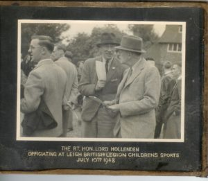 Rt Hon Lord Hollenden officiating at Leigh British Legion Children's Sports 10 July 1948