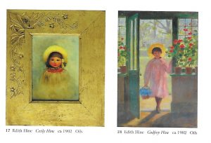 "Two pictures of her children, by Edith Hine, reproduced with permission of Michael Wace.  On the left ""Cecily Hine ca 1902"" oils; on the right ""Godfrey Hine ca 1902, oils"""