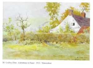 "Watercolour: ""A farmhouse in France 1915"" by Godfrey Hine, poignant because this is where he was stationed shortly before he was killed in October 1915: reproduced with permission of Michael Wace"