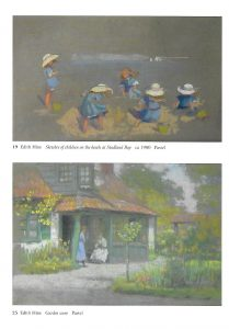 "Two pastels by Edith Hine, reproduced with permission of Michael Wace. Top pastel: ""Sketches of children on the beat at Studland Bay"" ca 1900.  Bottom pastel ""Garden Scene"""