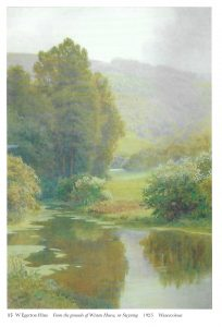 "Painting by W Egerton Hine, reproduced with permission of Michael Wace. ""From the grounds of Wiston House nr Steyning"" 1925 watercolour."