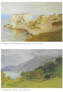 "Paintings by W Egerton Hine, reproduced with permission of Michael Wace.  Top watercolour ""Old Harry Rocks, Swanage, Dorset 1909""; bottom watercolour ""Ullswater 1914"""