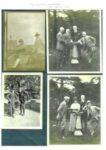 Four pictures featuring William Egerton Hine: he can be seen holding his hat in the top right picture.