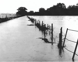 Flooding 1968 -from first bridge Powder Mills to Tonbridge footpath, looking down the footpath.
